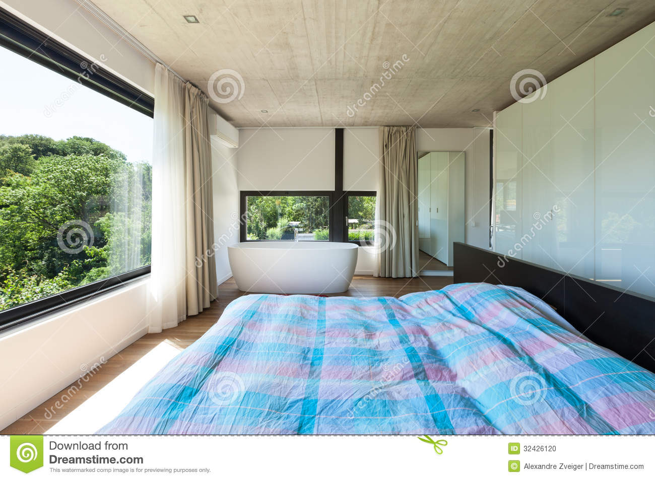Villa moderne int rieur chambre coucher photo stock for Villa moderne interieur