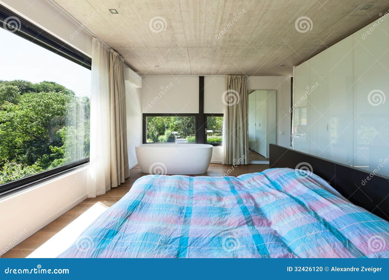 Villa moderne int rieur chambre coucher photo stock for Interieur chambre a coucher