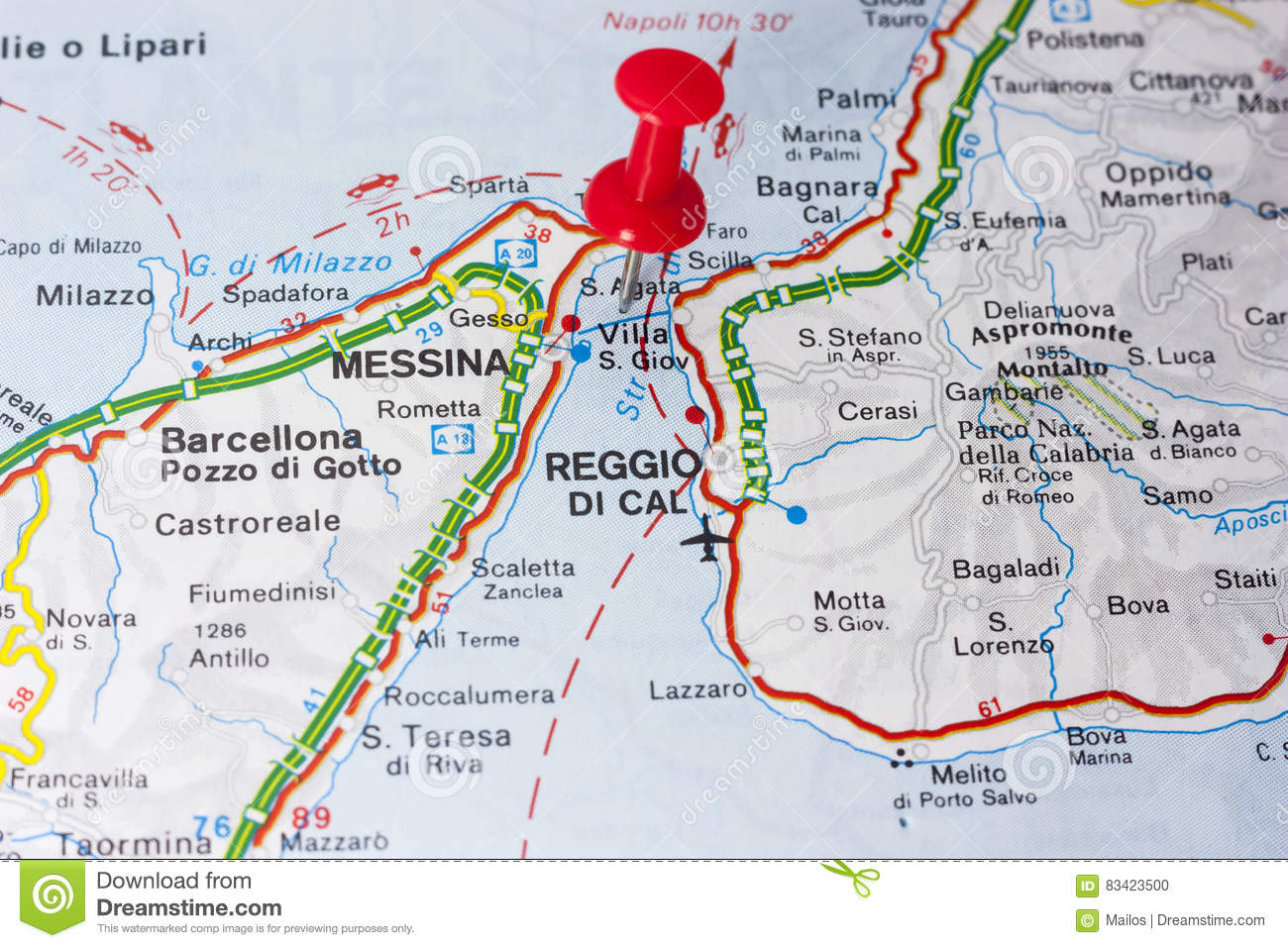 Villa San Giovanni Or The Strait Of Messina Italy On A Map Stock