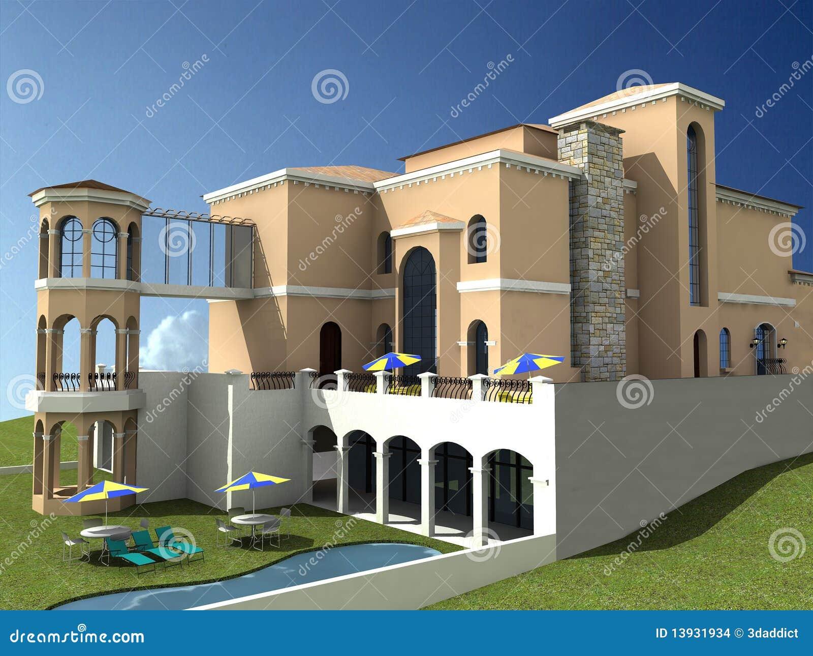 Villa spagnola di stile illustrazione di stock for Piani di casa di villa spagnola