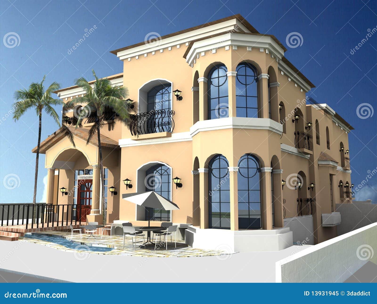 Villa spagnola di stile illustrazione di stock immagine for Stile missione spagnola
