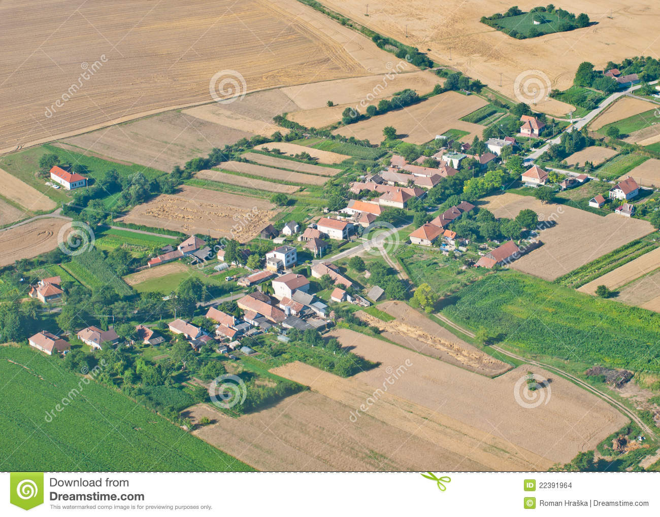 village  aerial view stock photo  image of homes  field