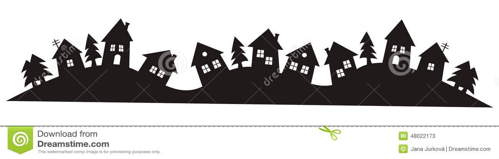 Village Black Silhouette Stock Vector Image 48022173