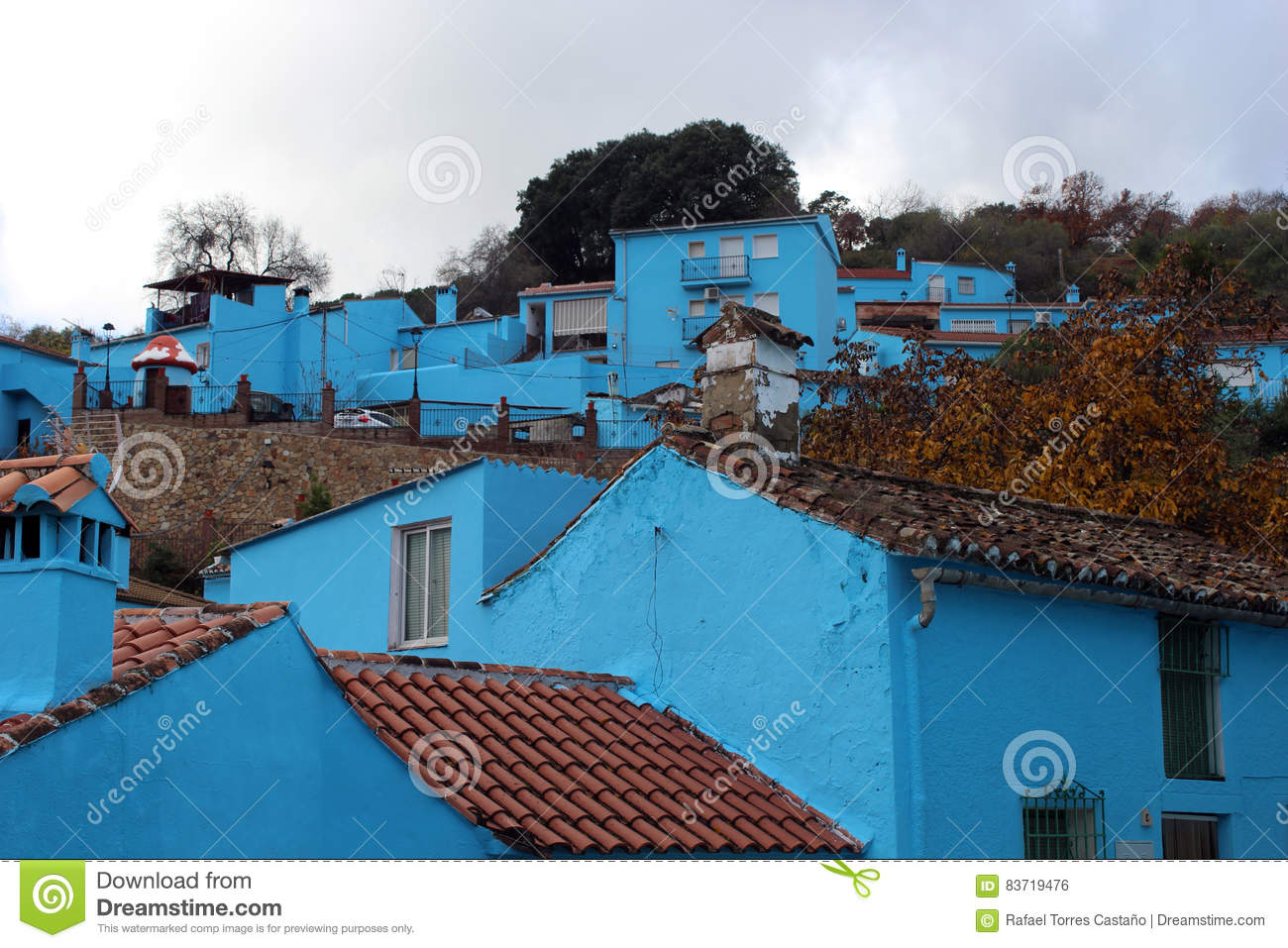 Village With Blue Houses Stock Photo
