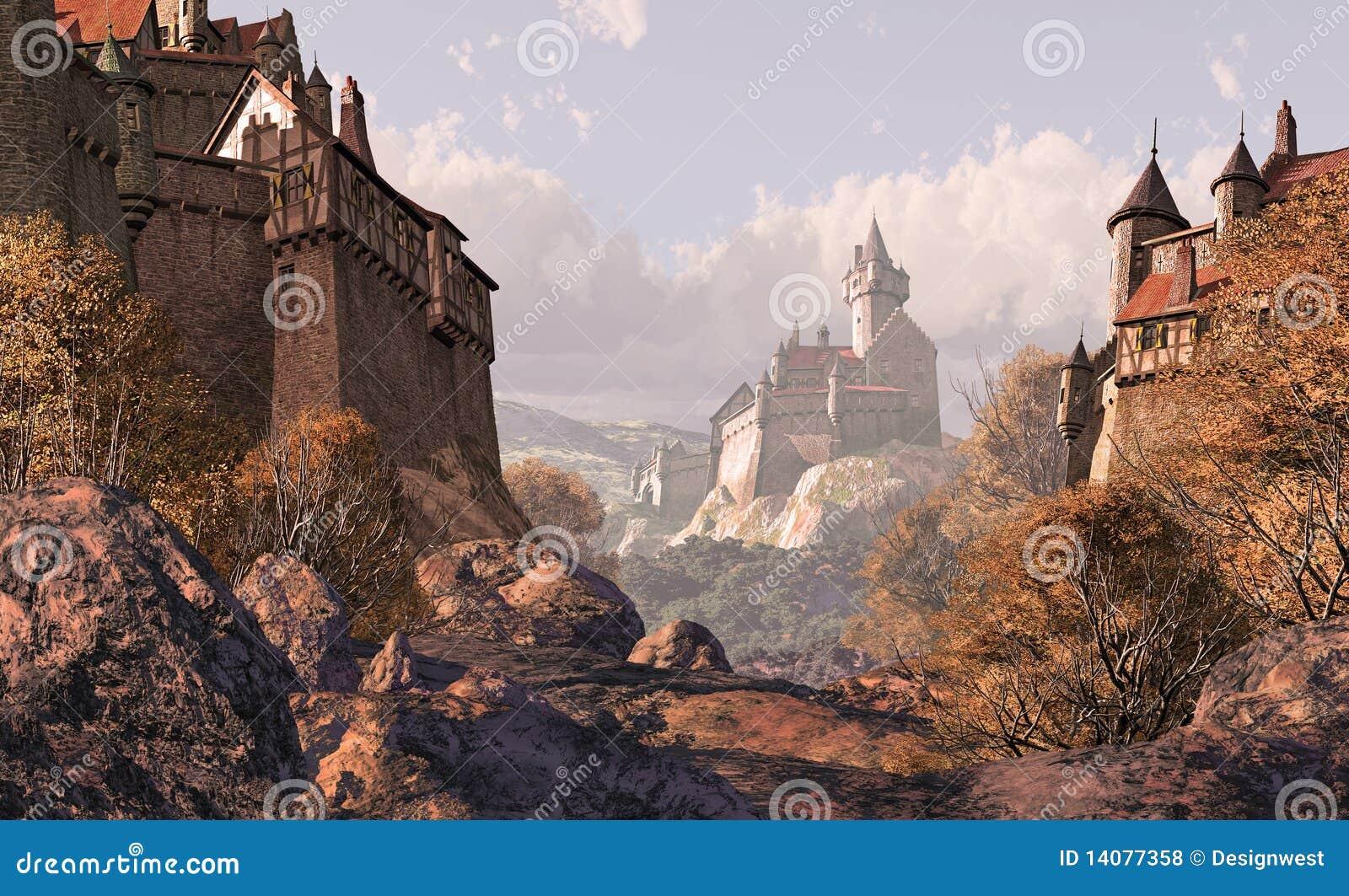 Village Castle In Medieval Times