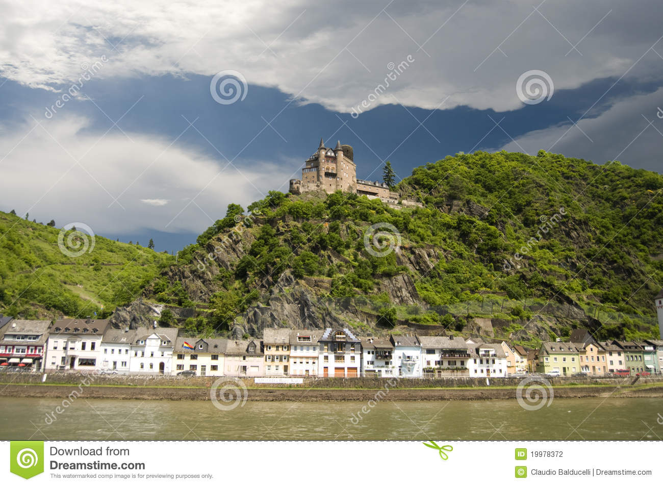 Village and castle on Rhine Valley