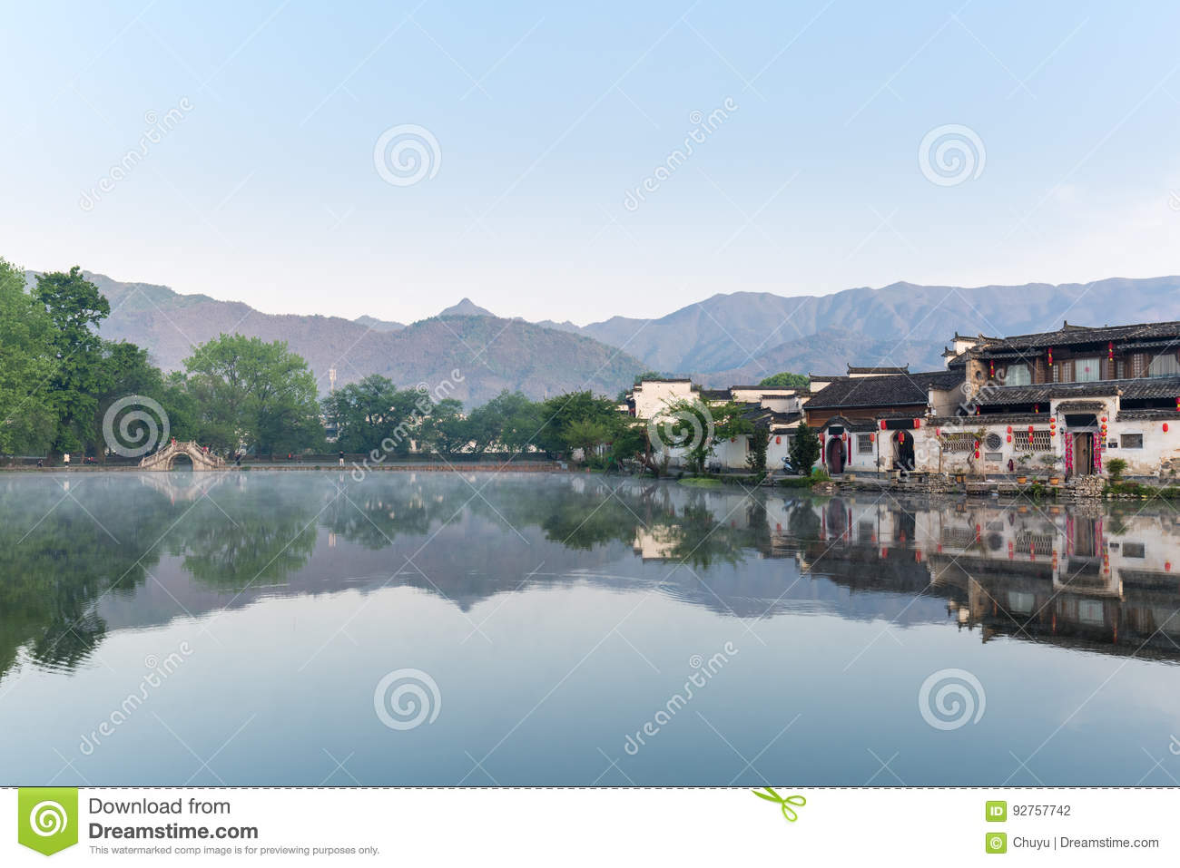 8ac0ded3f A Village In The Chinese Paintings Stock Photo - Image of mountain ...