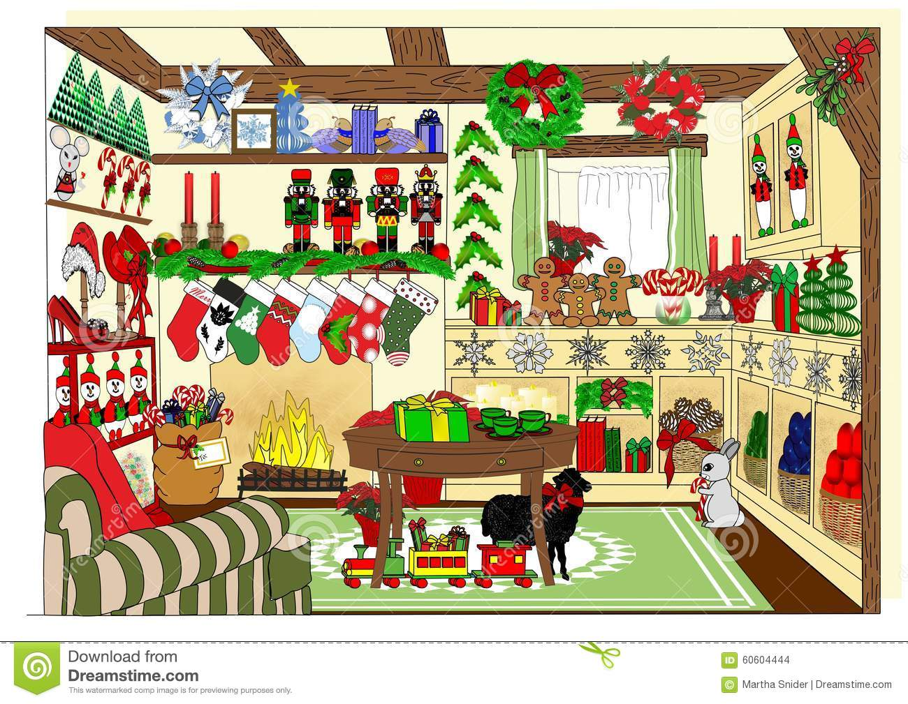 The village christmas shop stock illustration image for The christmas shop