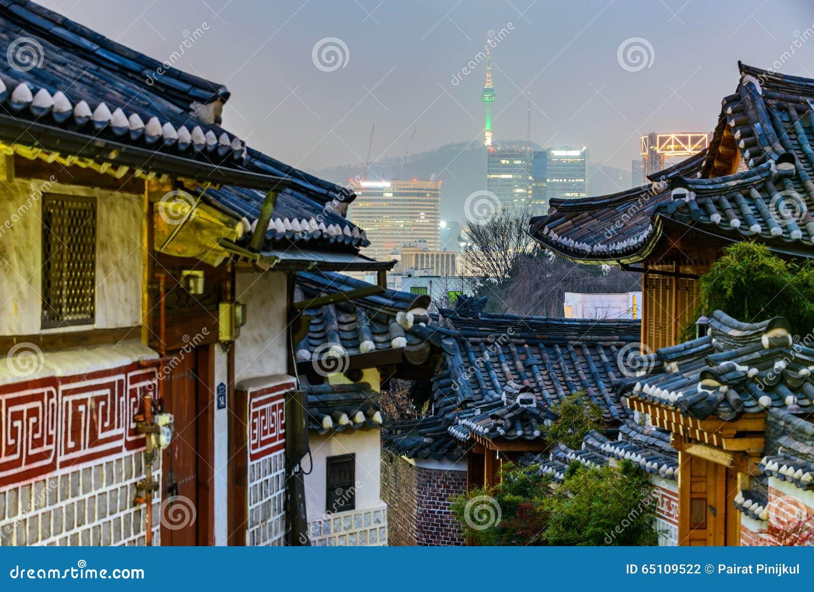 Village de Bukchon Hanok, architecture coréenne traditionnelle de style dans S
