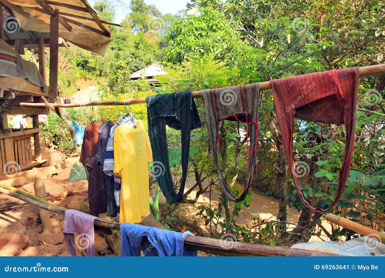 Village de l Asie de l Est et les gens - ethnie de Karen en Thaïlande