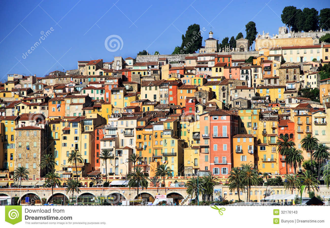 village de la provence de menton sur la c te d 39 azur image stock image 32176143. Black Bedroom Furniture Sets. Home Design Ideas