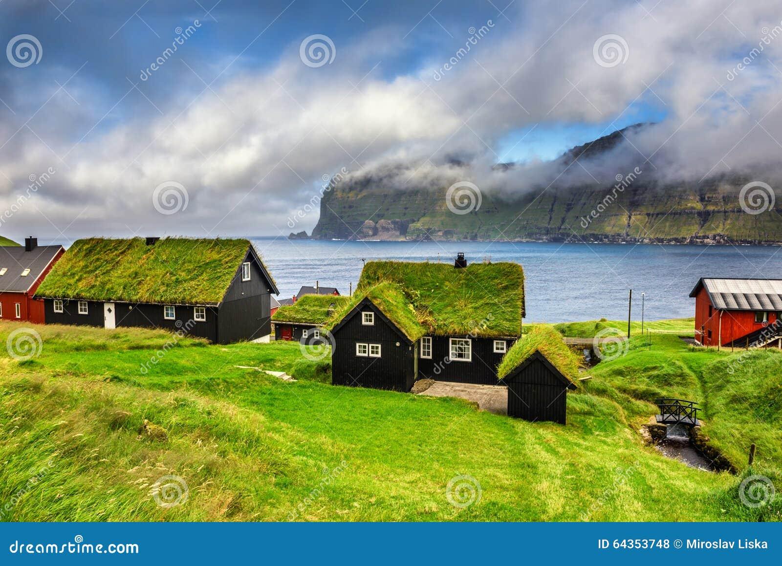 Village de Mikladalur, les Iles Féroé, Danemark