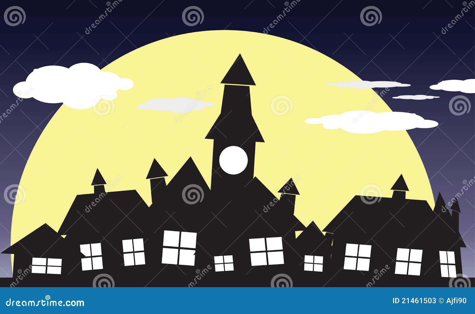 Village de nuit illustration stock illustration du - Village dessin ...