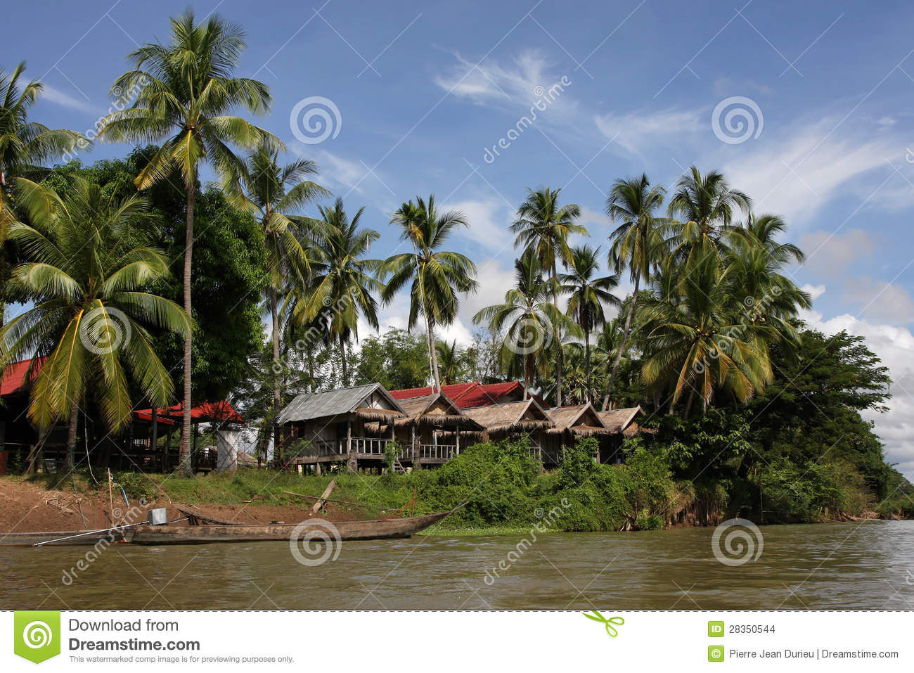 Download Village Of Det Island, Si Phan Don Stock Photo - Image of archipelago, navigation: 28350544