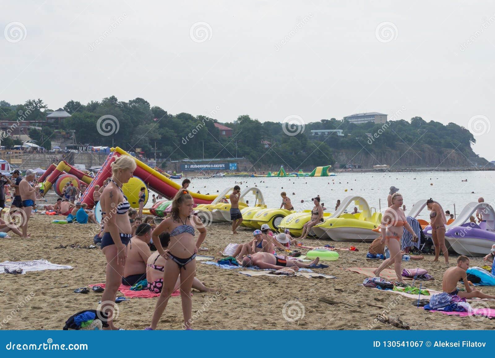 Village Dzhubga Beach Krasnodar Krai Russia 15 June 2018 Editorial Photography Image Of Summer Blue 130541067