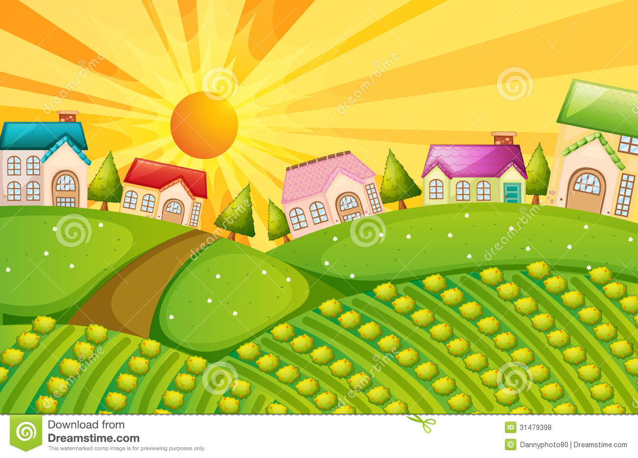 Free Vector Illustration Juniper: A Village With Farm Stock Vector. Image Of Rays, Harvest