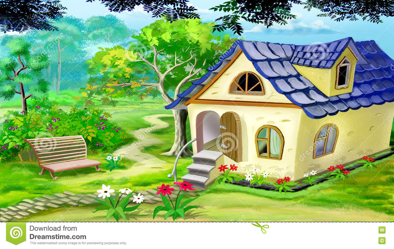 village garden house digital painting summer day rural landscape 71440981