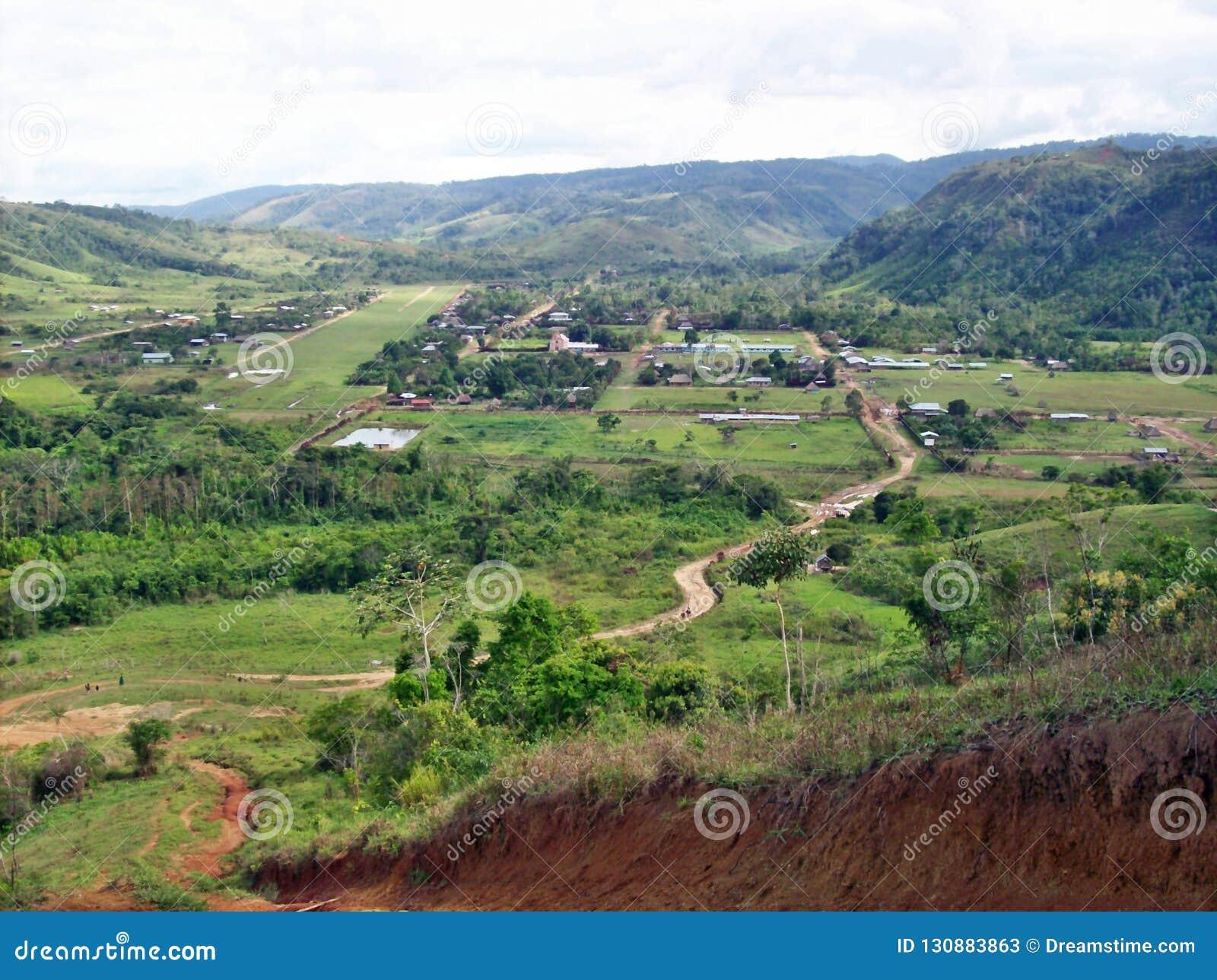 Village between hills
