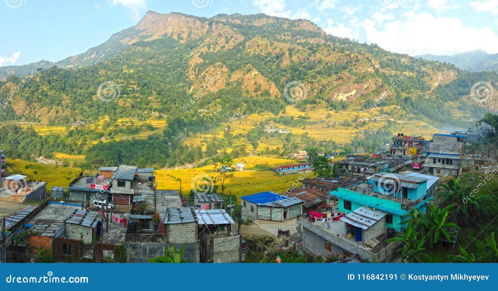 Village in Himalayas Mountains Annapurna trek