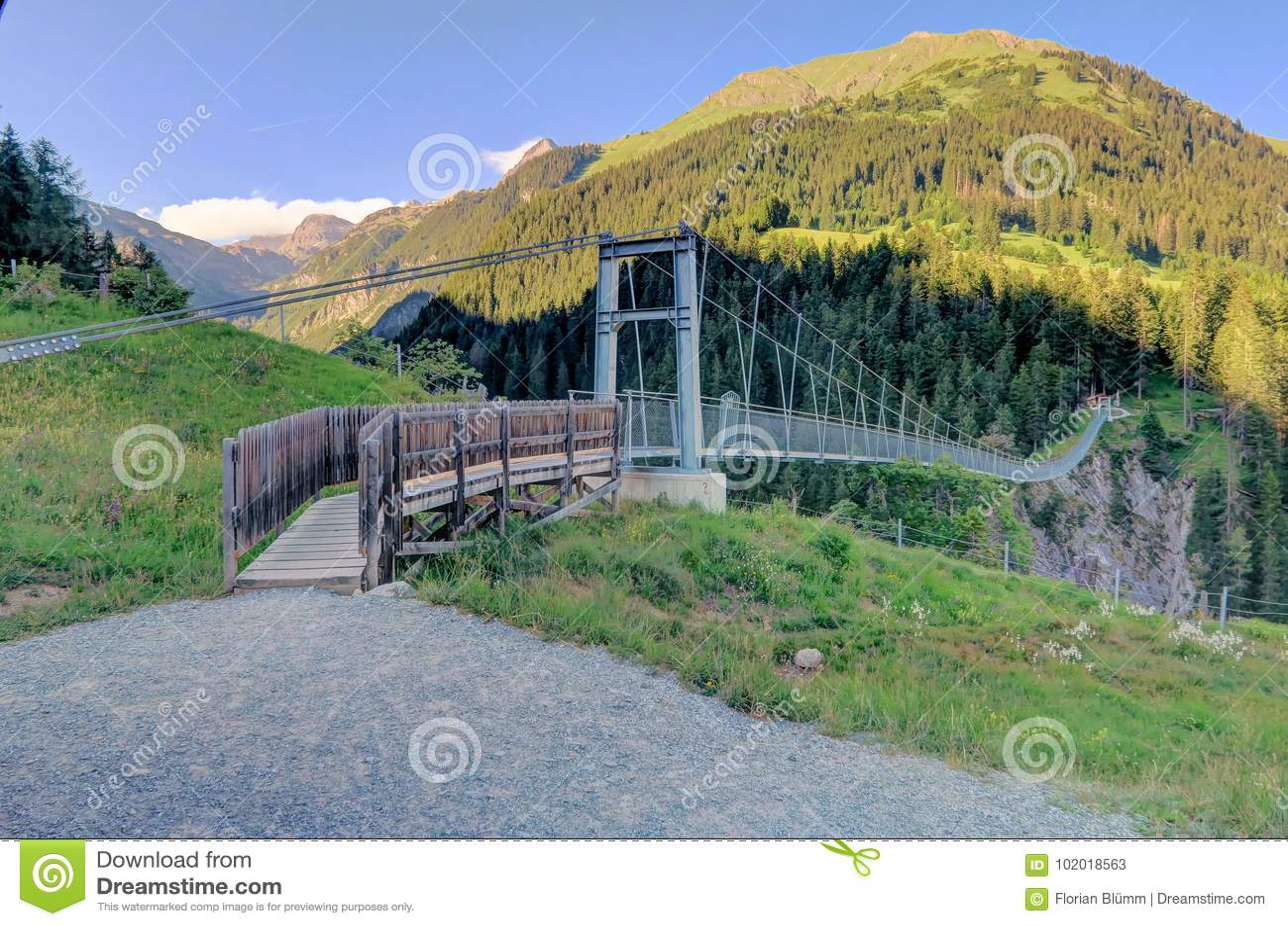 Austria`s Longest Pedestrian Suspension Bridge in Holzgau Bridge ...