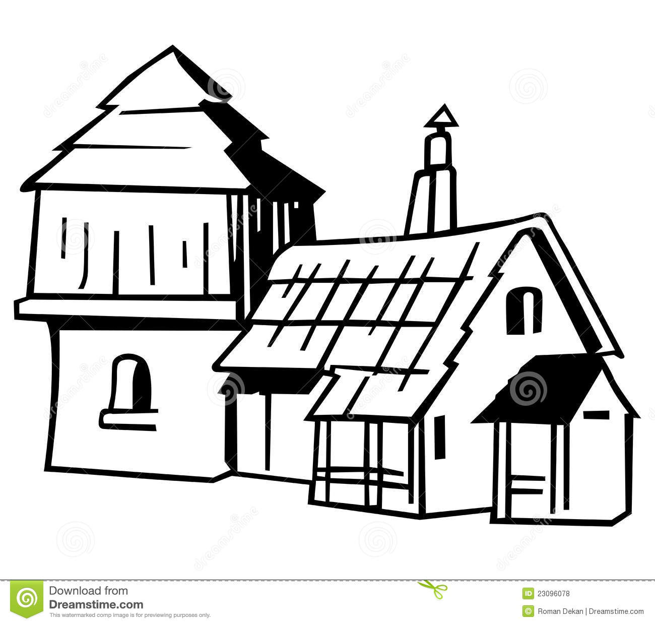 Village house - Black and White Cartoon Illustration, Vector.