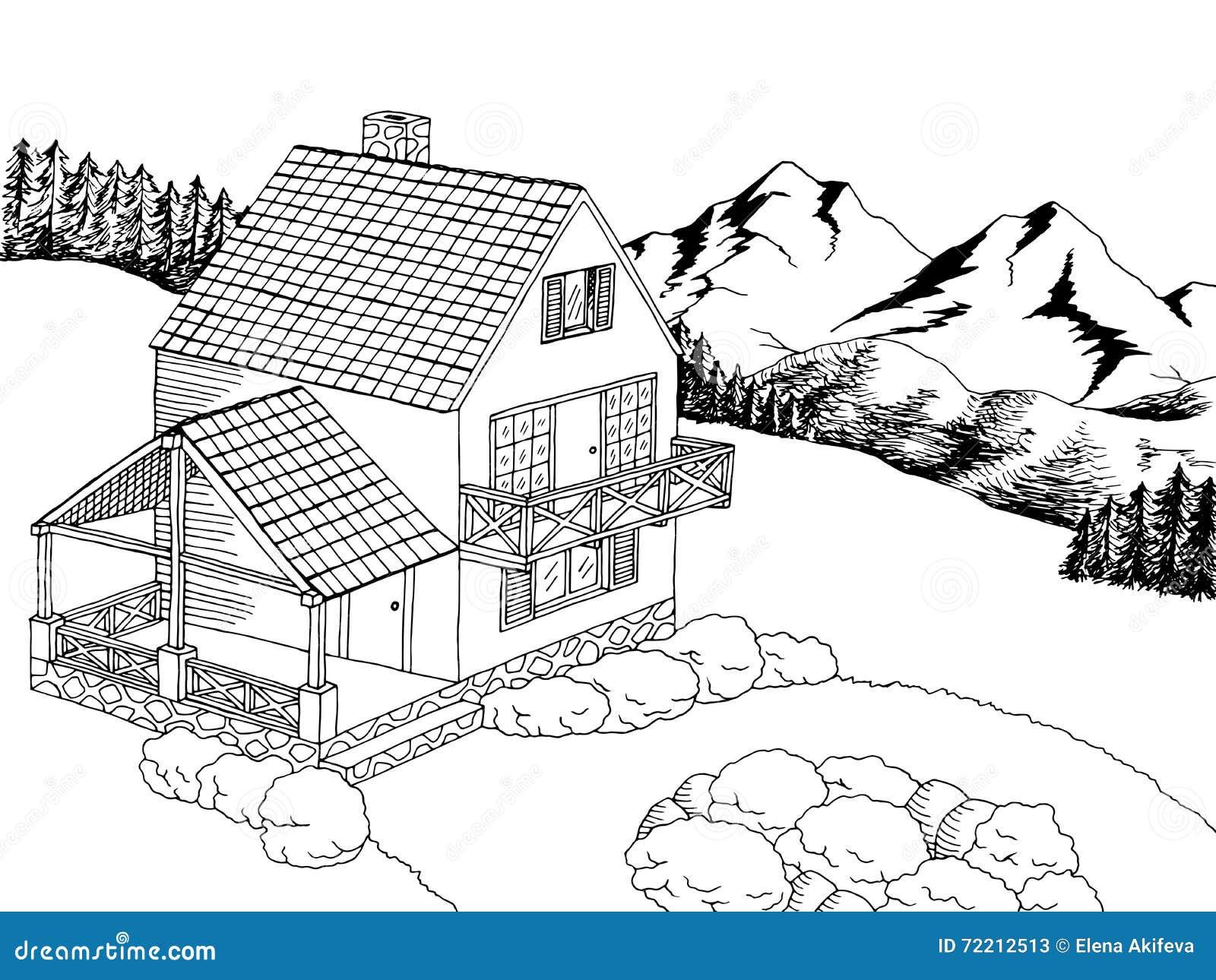 village house graphic art black white landscape