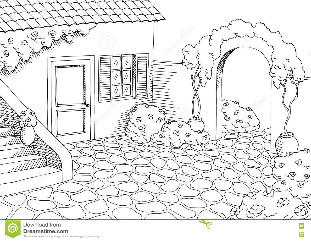 Village House Graphic Yard Art Black White Landscape