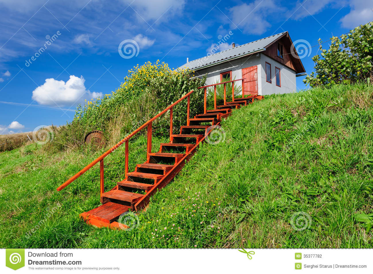 Stock Photography Village House Hill Stairs Small Kindasovo Karelia North Russia Image35377782 on Small Rustic Home Plans