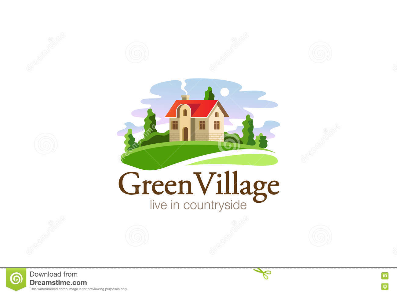 Village House Logo Real Estate Design Vector