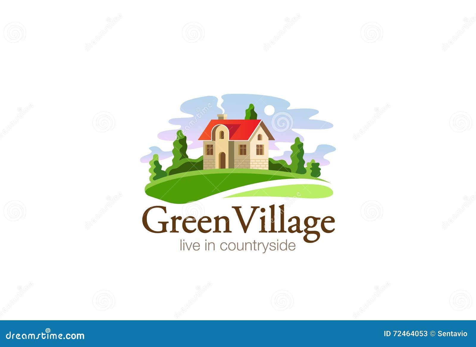 Village House Logo Real Estate Design Vector