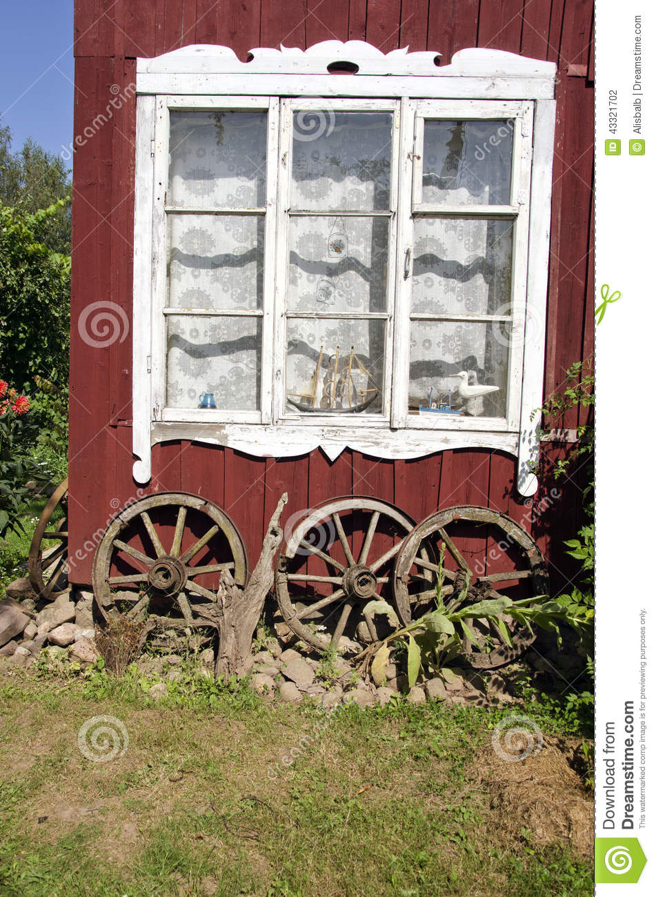 Village House Old Window With Ancient Horse Carriage Wheel Stock Photo Image Of Village House