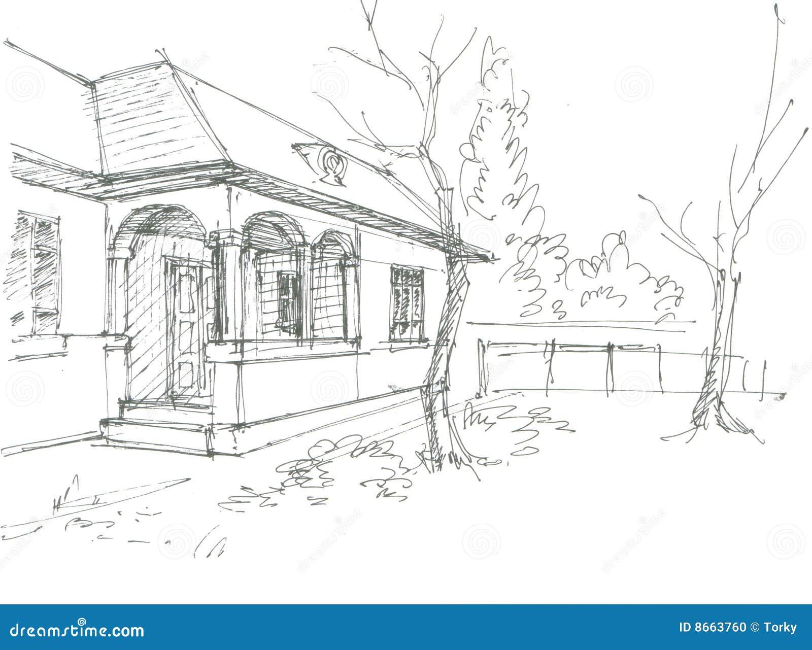 Line Art Village : Village house sketch stock vector image of black cartoon