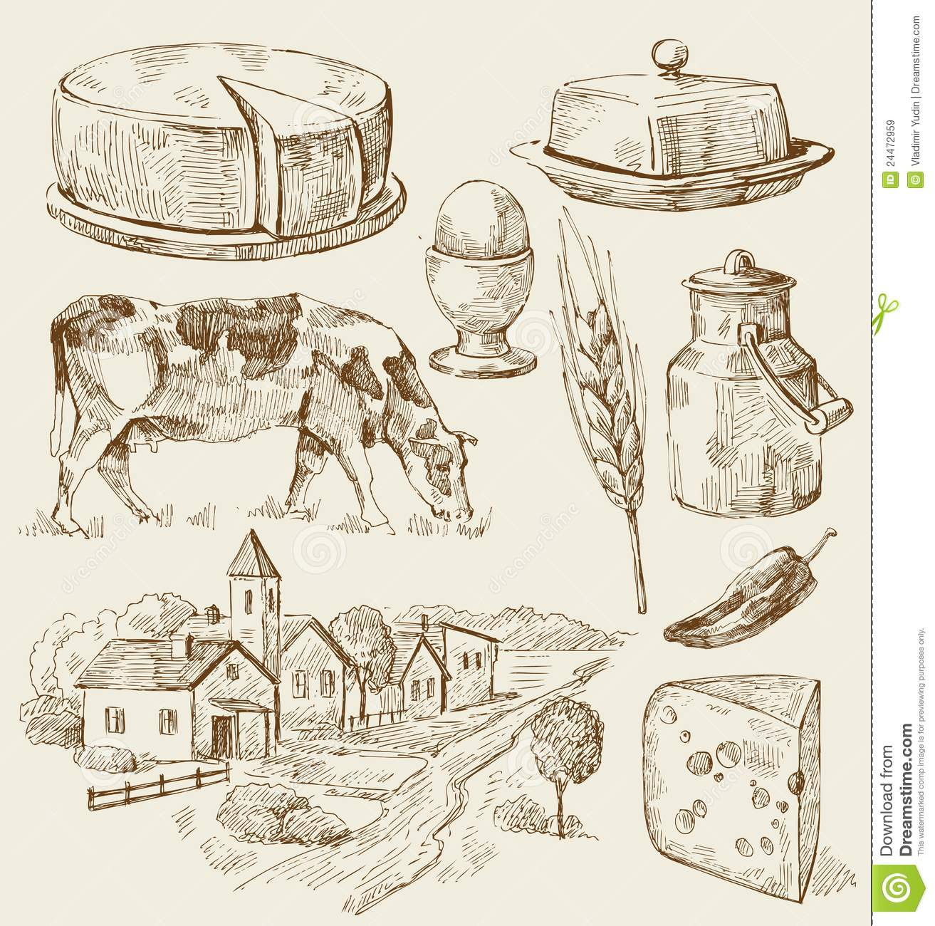 Village Houses Sketch With Food Stock Vector