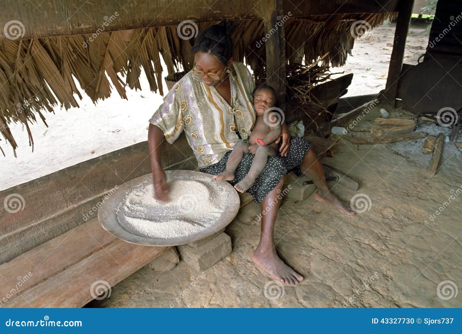 Village Life Of Maroons In Santigron Surinam Editorial