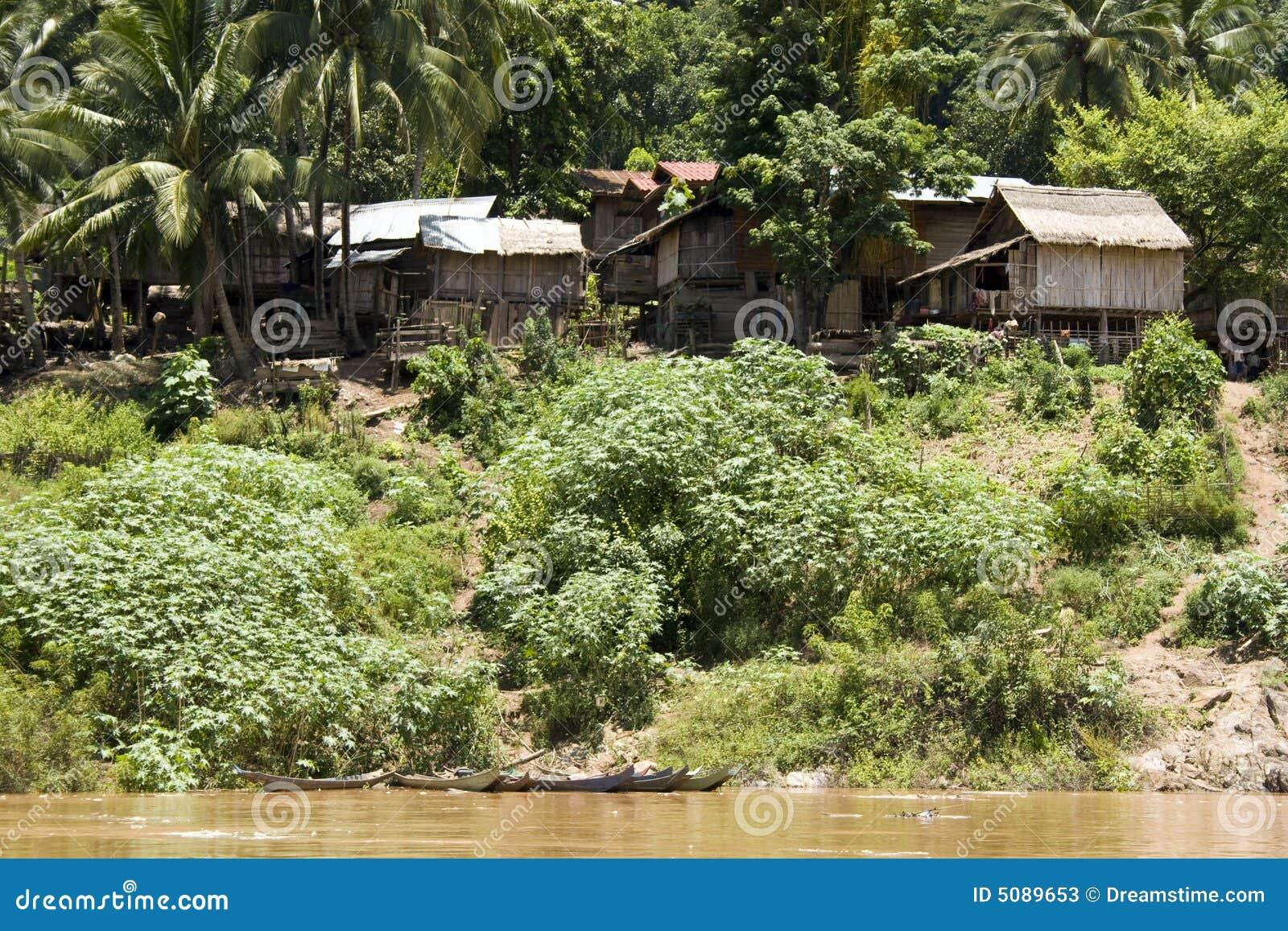 Village on Mekong River, Laos