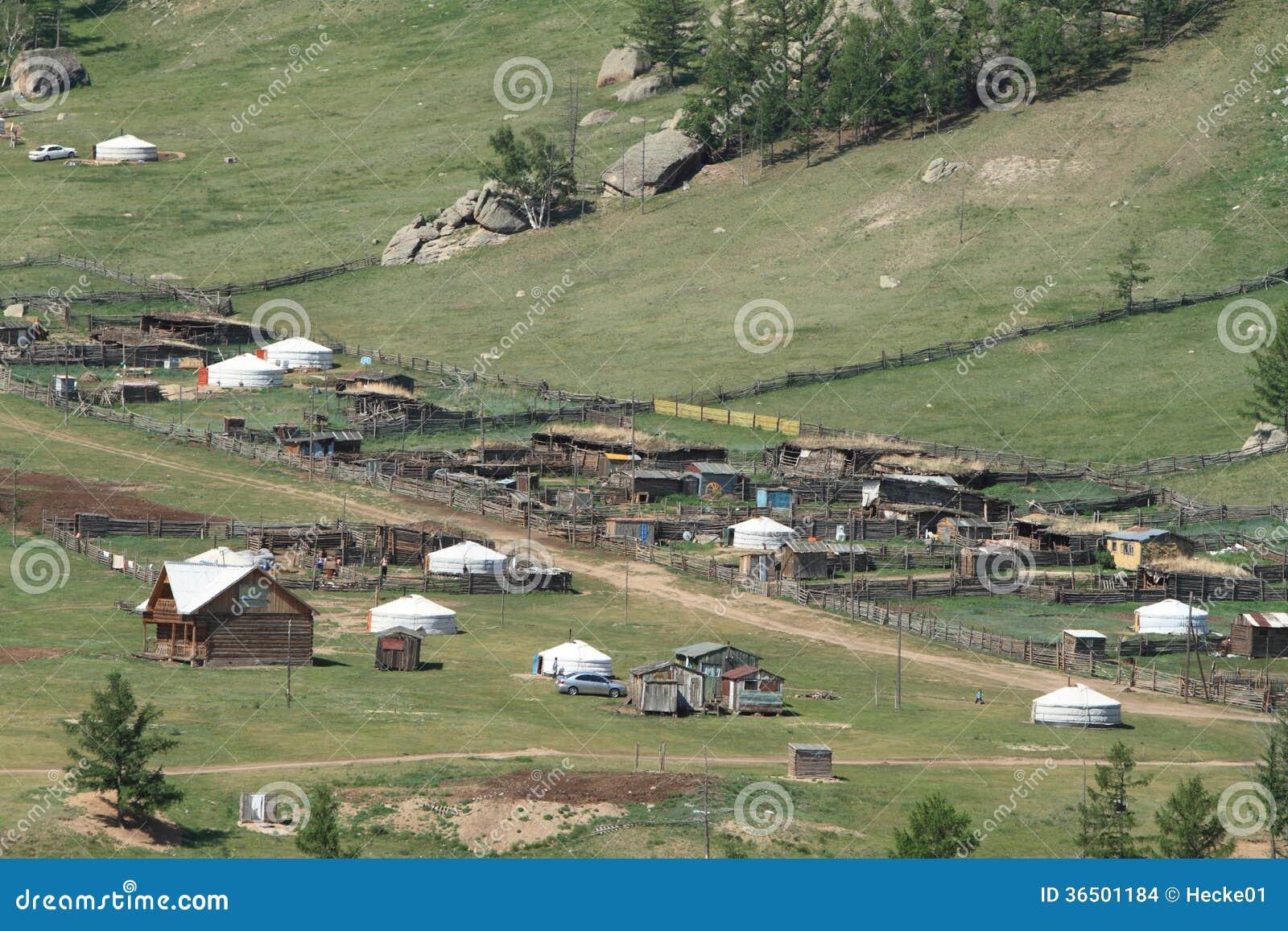 Village Mongolie de Yurt