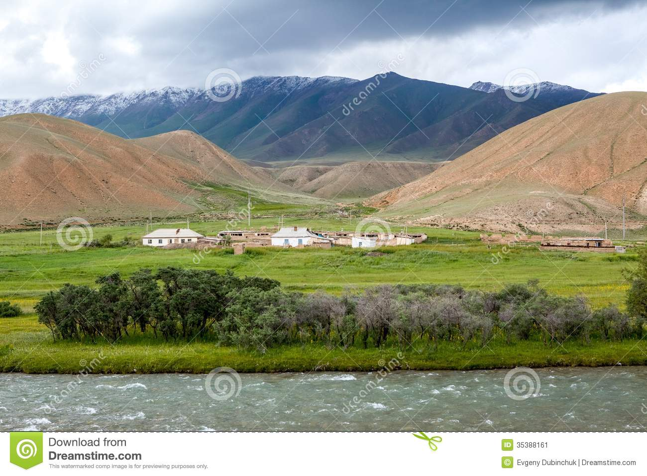 Village In Mountains, Tien Shan, Kyrgyzstan Stock Image ...