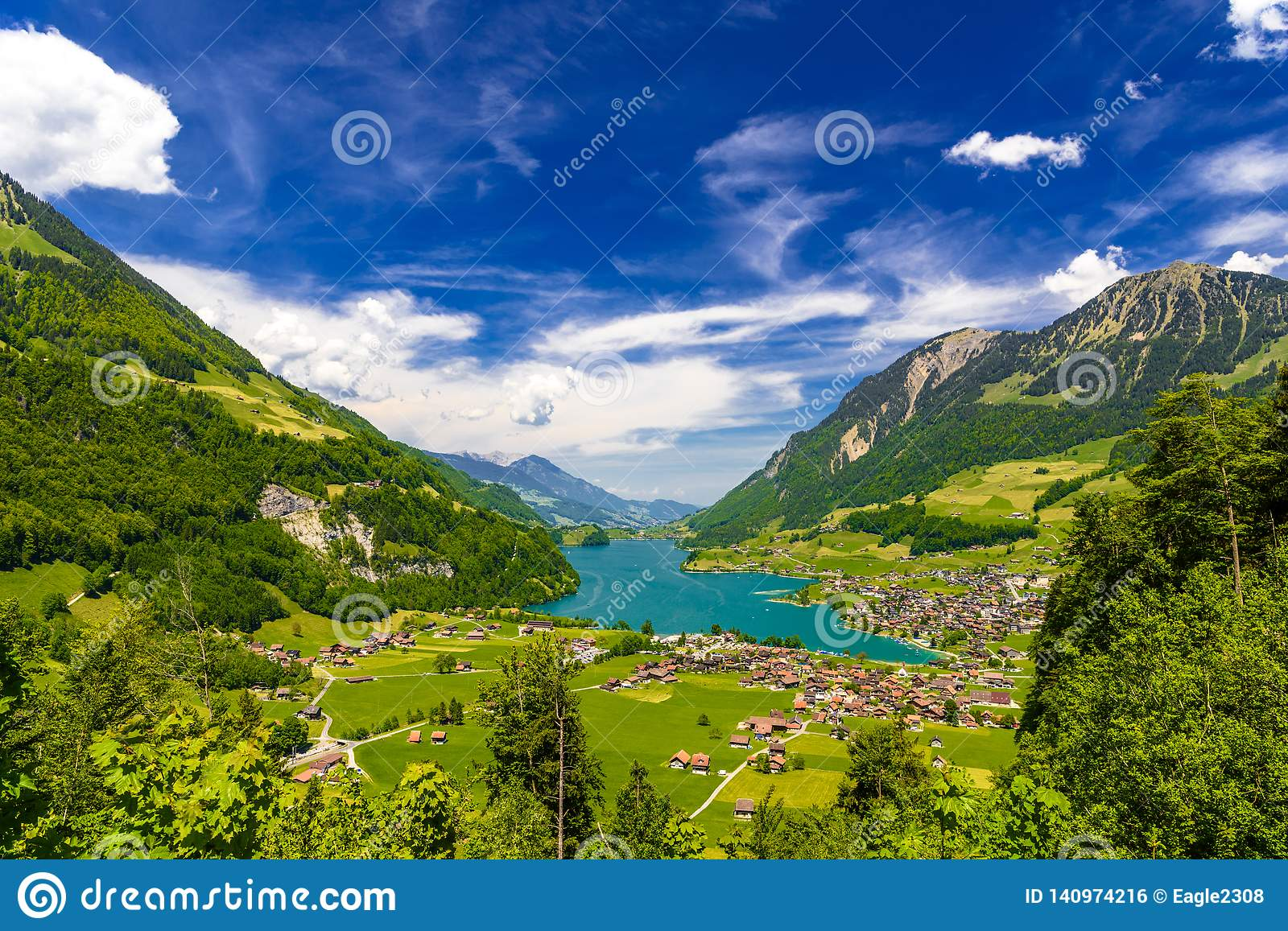 Village Near Lake Lungern, Lungerersee, Obwalden ...