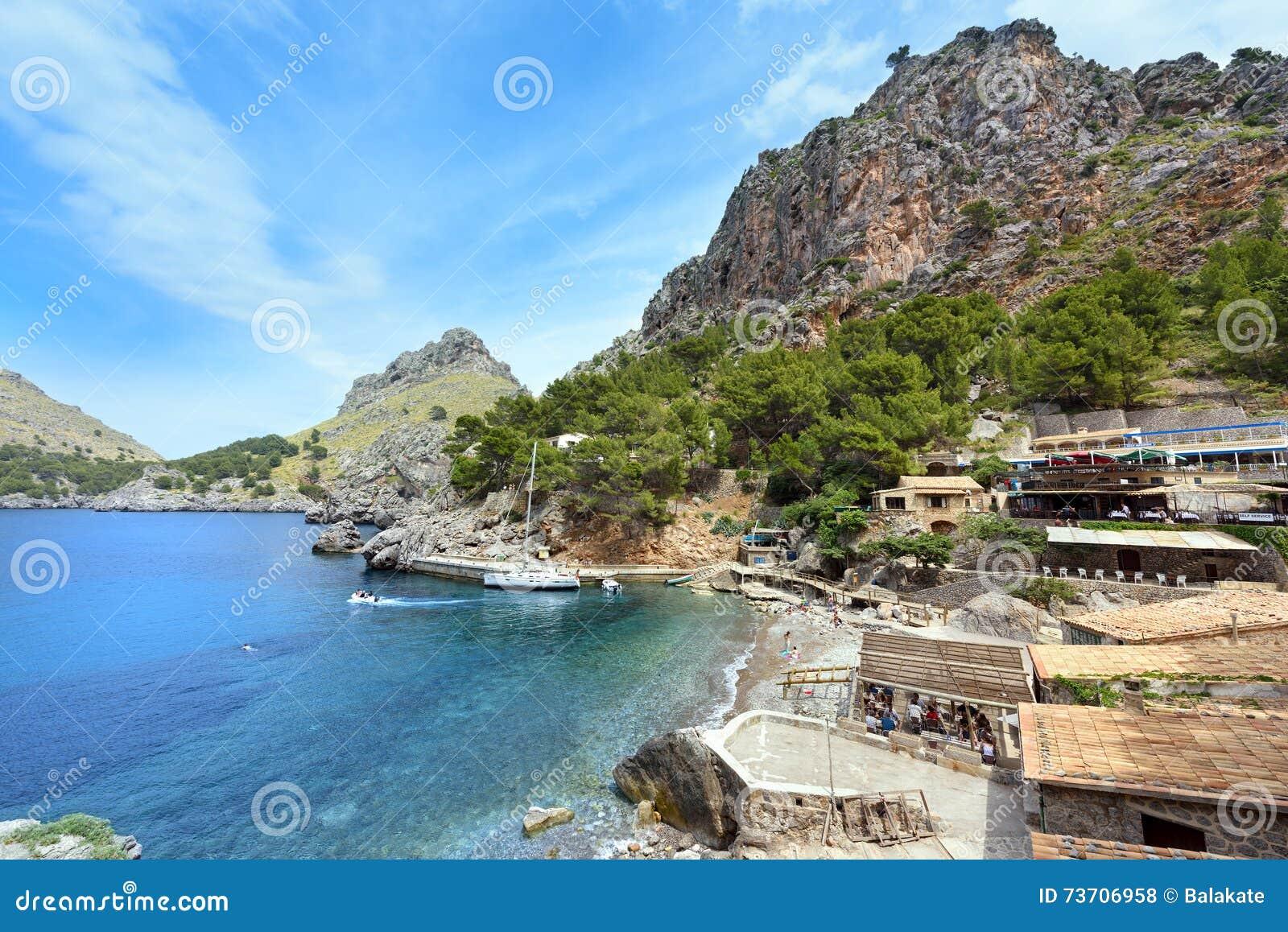 Village Sa Calobra on the coast of the Mediterranean sea. Island Majorca, Spain.