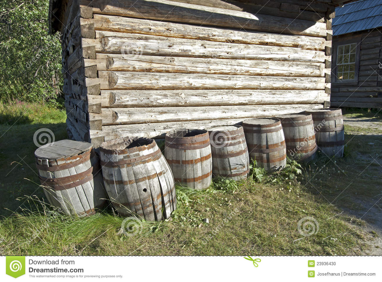 Village scenery with log cabin and barrels stock photo for Barrel cabin plans