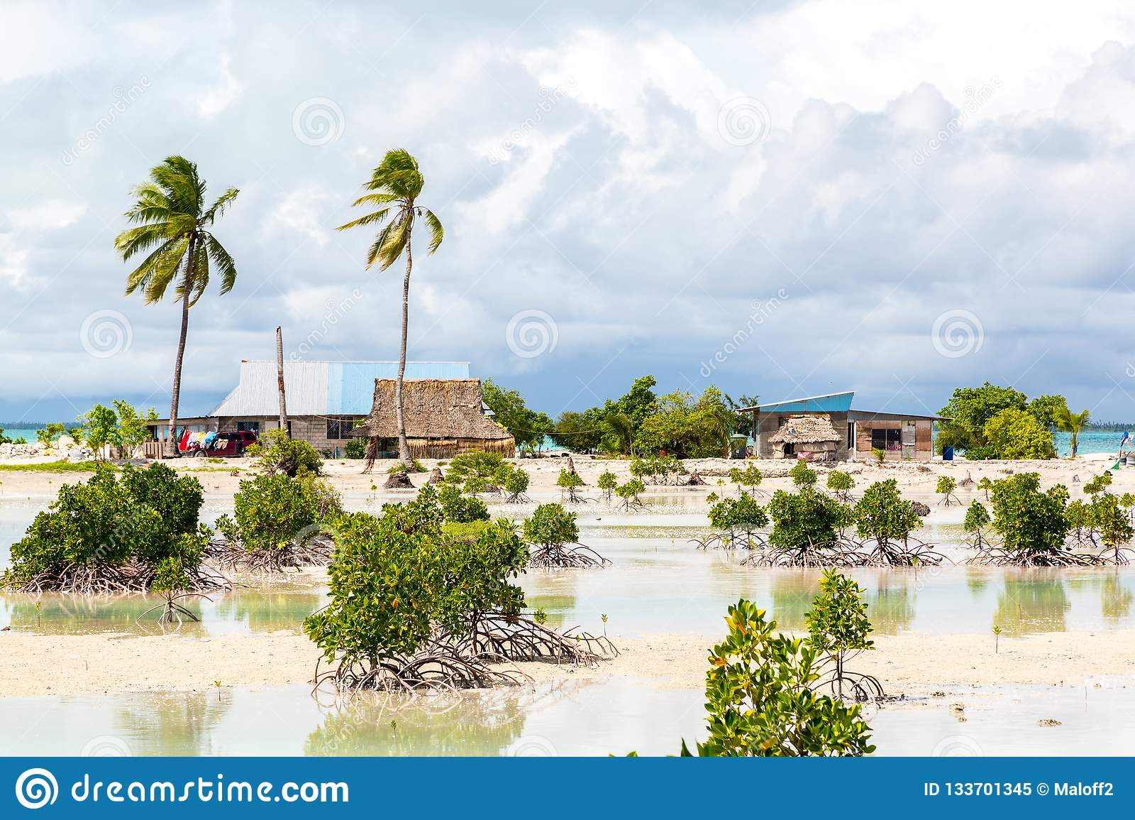 Village on South Tarawa atoll, Kiribati, Gilbert islands, Micronesia, Oceania. Thatched roof houses. Rural life, a remote paradise