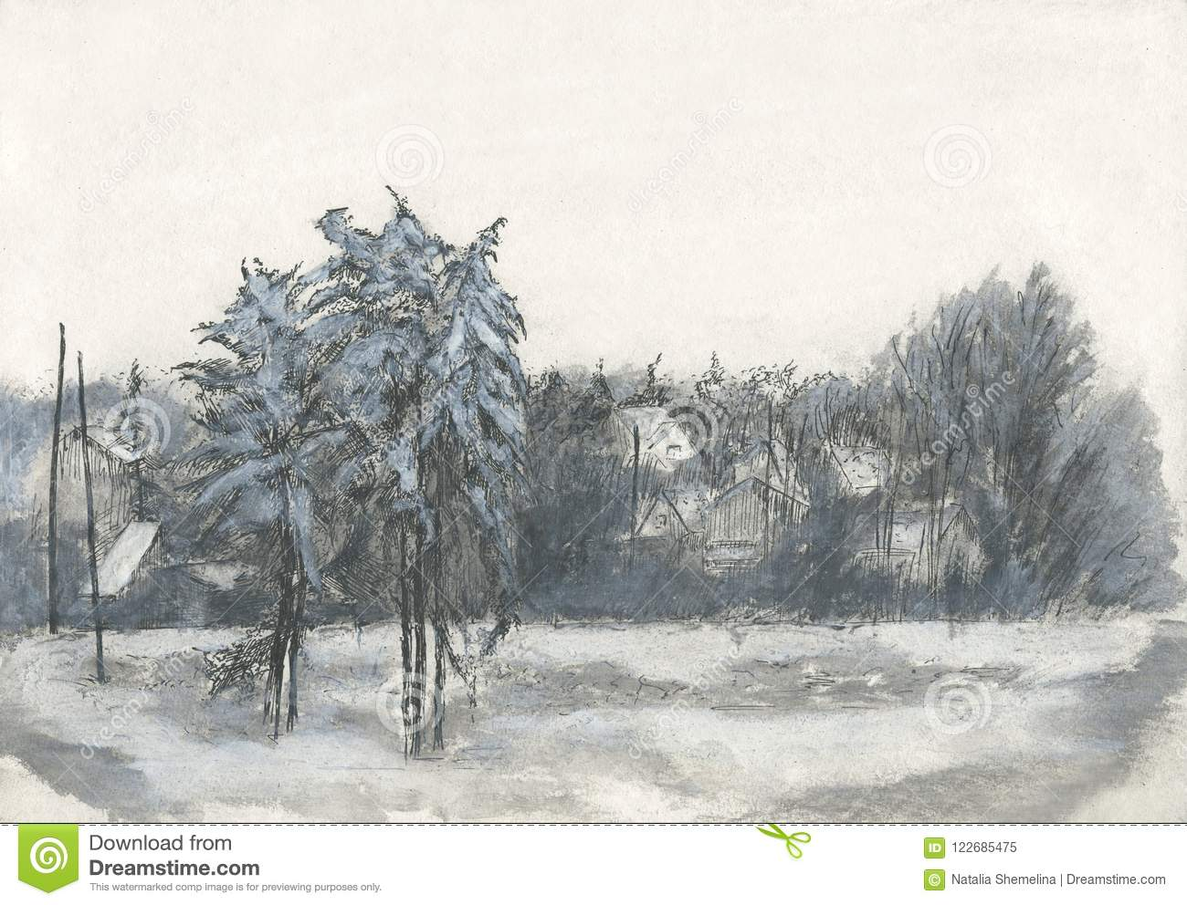 Village winter landscape drawing black and white stock