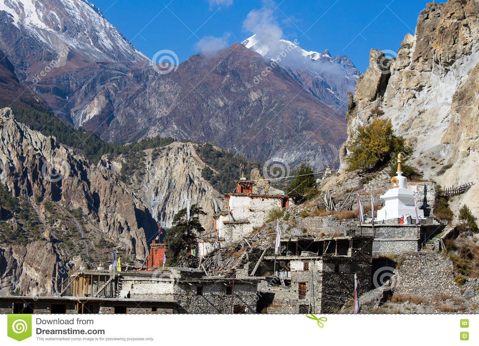 Villaggio di pietra tradizionale di configurazione di Manang Montagne nei precedenti Area di Annapurna, Himalaya, Nepal