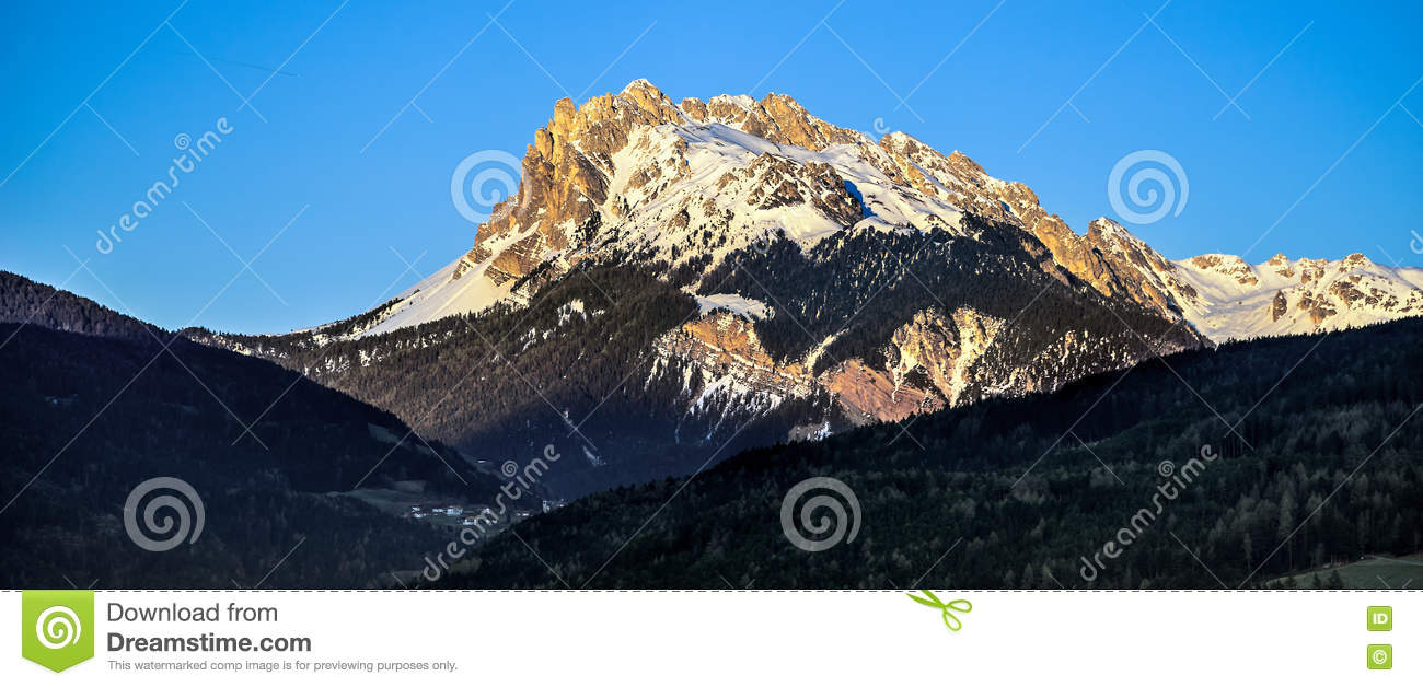 VILLANDERS, SOUTH TYROL/ITALY - MARCH 26 : View of the Dolomites from Villanders South Tyrol in Italy on March 26, 2016