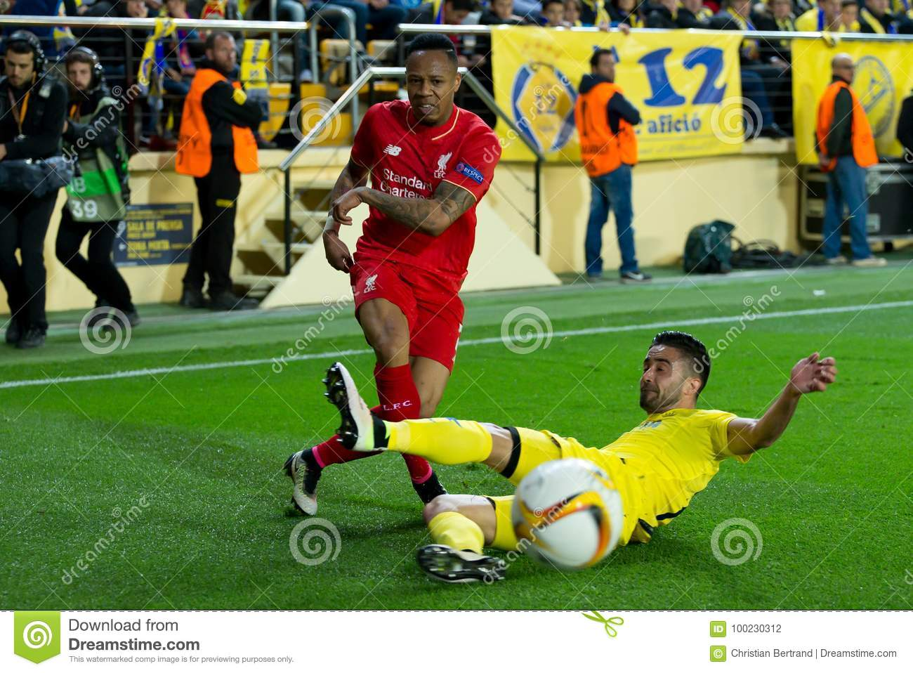 Nathaniel Clyne plays at the Europa League semifinal match between Villarreal CF and Liverpool FC