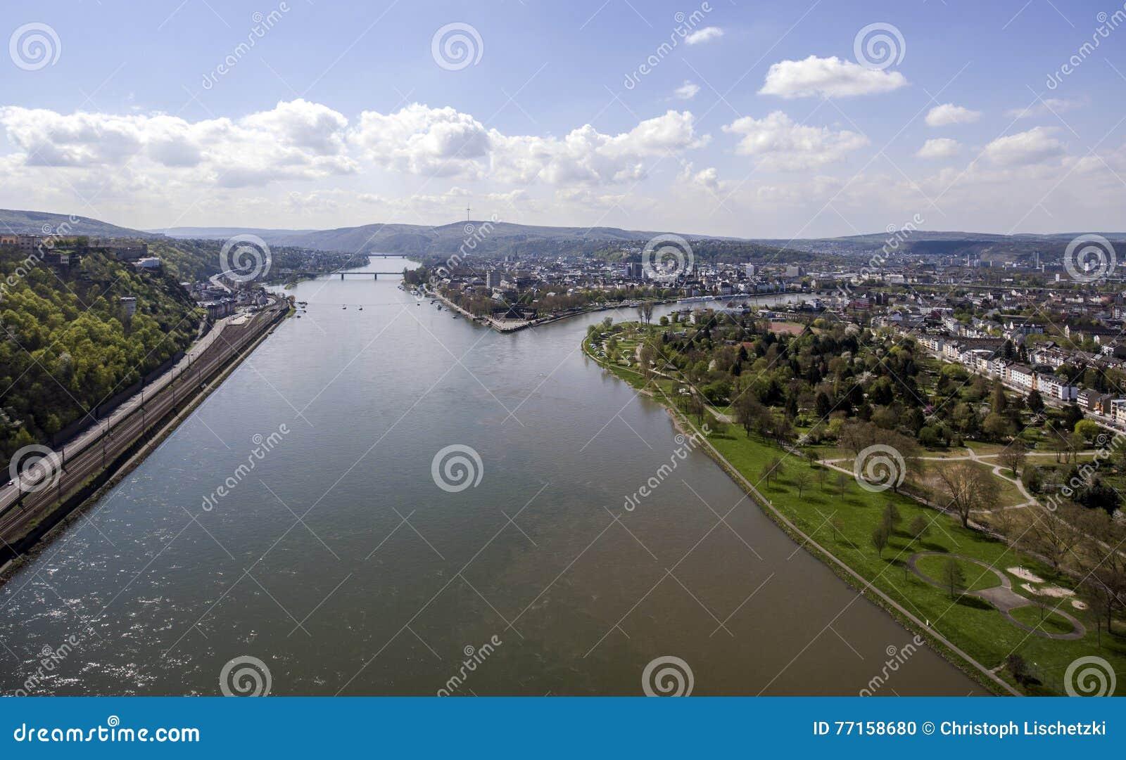 Ville Allemagne de Coblence avec le coin allemand historique