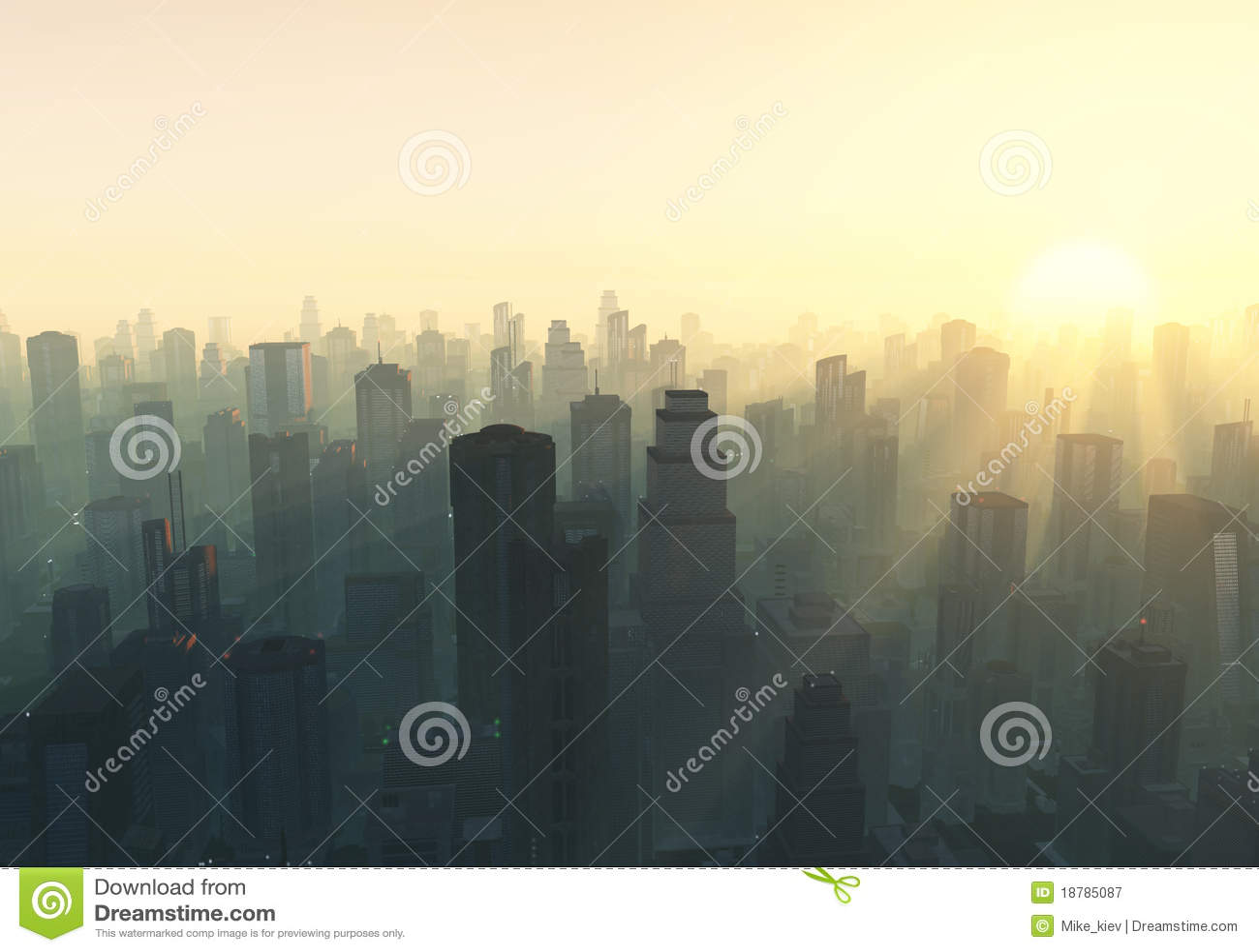 Ville au lever de soleil brumeux
