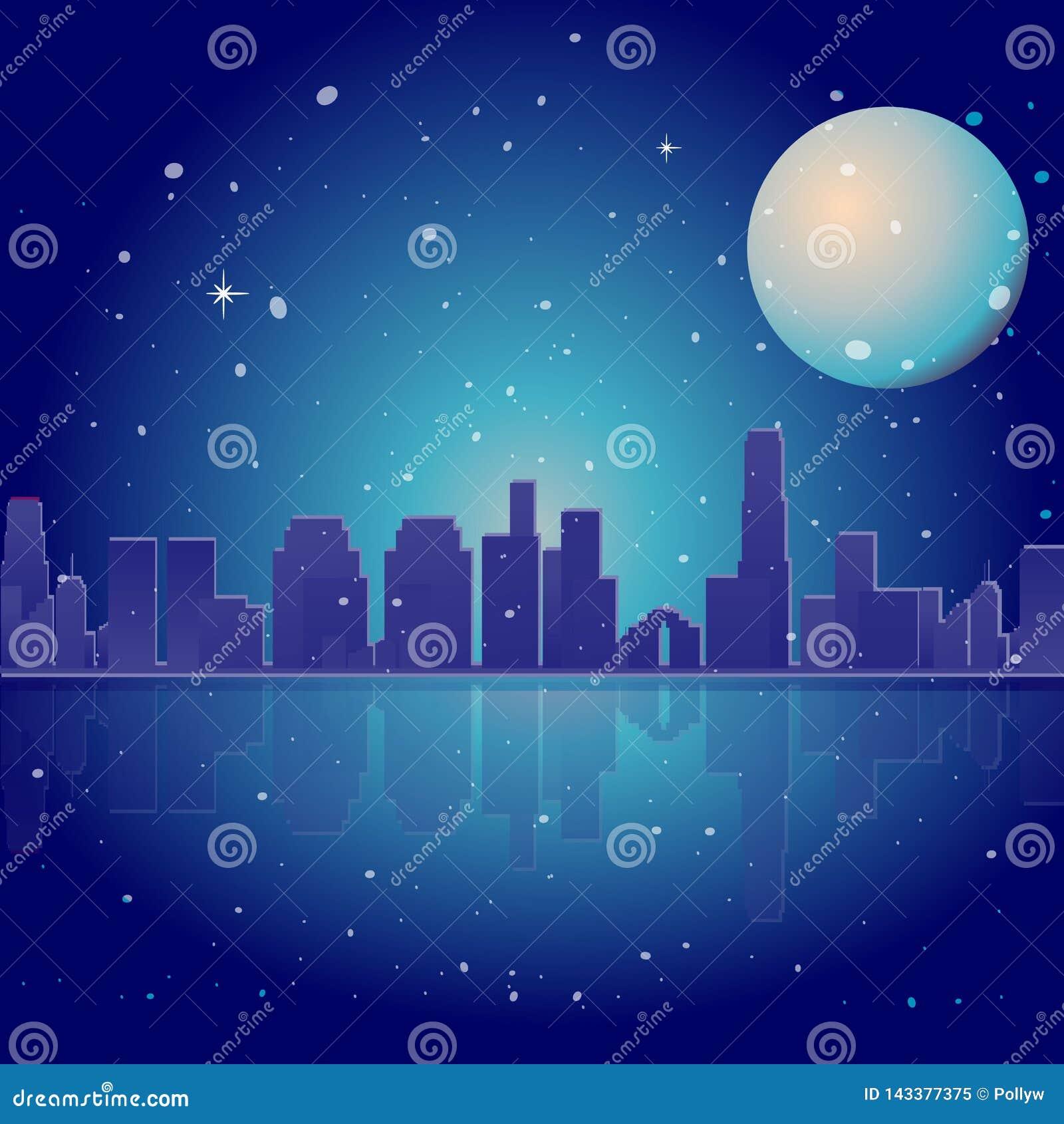 Ville au néon avec la lune, les étoiles et l océan, illustration de vecteur