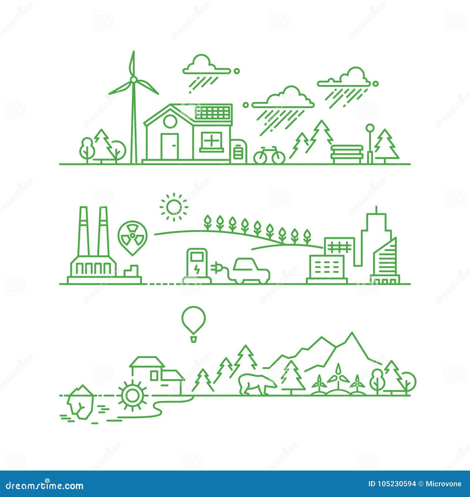 Ville d eco d ensemble Le futurs environnement et écosystème verts écologiques dirigent le concept