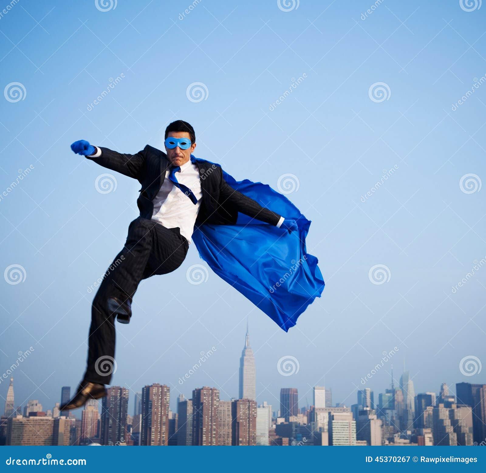 Ville d Over New York d homme d affaires de super héros